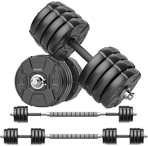 RUNWE Adjustable Dumbbells Barbell Set of two, 33 90 100 lbs Free Weight Set with Connector Fitness Workout Exercises for Beginner Pro Home Gym