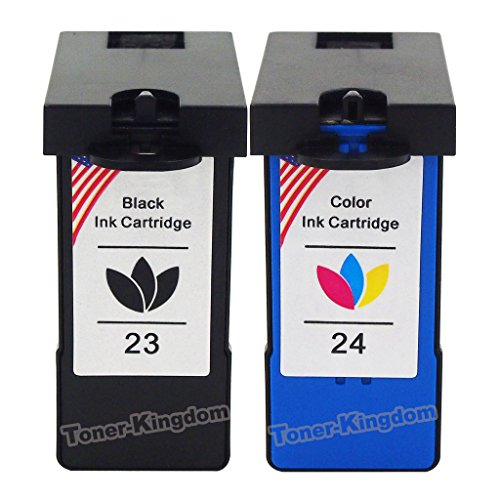 Toner Kingdom Ink Cartridge Replacements for Lexmark 23 24 (1Pack Black, 1 Pack Color) Compatible with Lexmark X3430, X3530, X3550, X4530, X4550, X4500, Z1410, Z1420