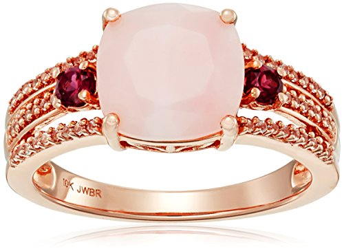 10k Rose Gold Natural Pink Opal Cushion Cut with Round Sh...
