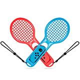 TURN RAISE Tennis Racket for Nintendo Switch, Joy-cons/Controllers Grips for Switch Joy-con Grip for Somatosensory Games like Mario Tennis Aces 2-PACKS (Red-Blue)