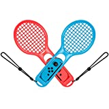 TURN RAISE Tennis Racket for Nintendo Switch Joy-con Controllers, Twin Pack Tennis Racket For Mario Tennis Aces Game, Accessories Compatible Nintendo Switch Game Mario Tennis (Blue and Red)