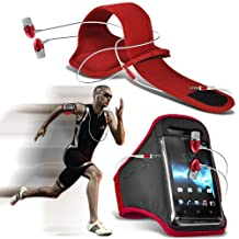 ( Red + Earphone ) LG G3 Case Custom Made Sports Armbands Running Bike Cycling Gym Jogging Ridding Arm Band Case Cover With Premium Quality in Ear Buds Stereo Hands Free Headphones Headset with Built in Microphone Mic and On-Off Button by ONX3®