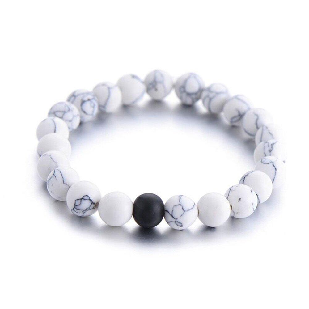 2pz per coppia di innamorati a distanza Braccialetto con pietra naturale di agata nero opaco e howlite bianca Perline 8mm