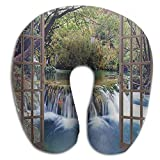 HGBAk Chin Supporting Travel Neck Pillow - Wide Waterfall Window Print,Neck and Chin in in Any Sitting Position
