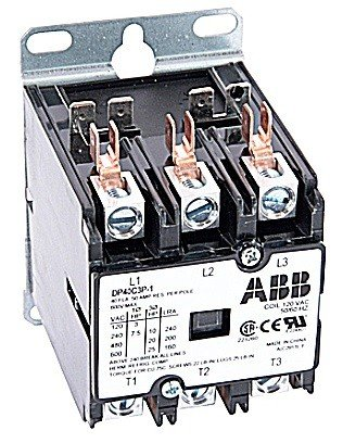 ABB, DP40C3P-4, 3 Pole, 40 Amps, 480VAC Coil, Definite Purpose Contactor