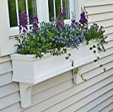 FlowerWindowBoxes.com 30' Charleston PVC Self-Watering Window Box - No Rot w/ 2 Brackets