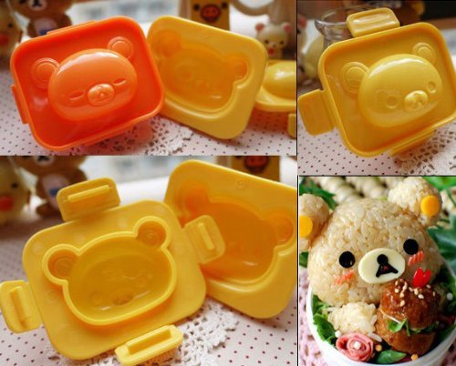 2 PCS Relax Little Bear Boiled Egg Sushi Rice Roll Mold Mould Kitchen Tool Bento