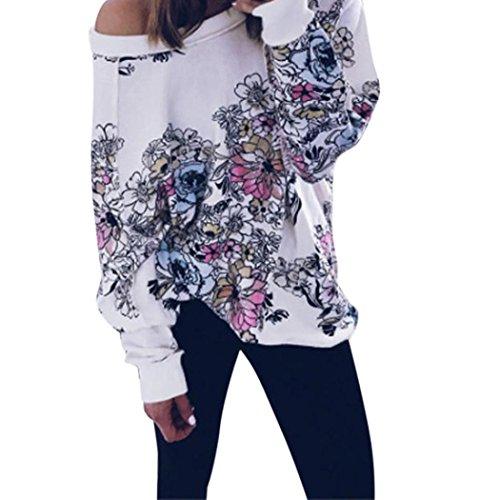 Lisingtool Women Flower Print Long Sleeve Oblique Off Shoulder Blouse Tops (M, Multicolor)