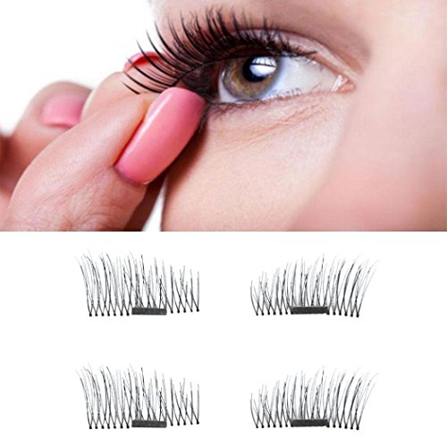 OVERMAL News 4pcs Ultra-thin 0.5mm Magnetic Eye Lashes 3D Reusable False Magnet Eyelashes (Full House Crusher)
