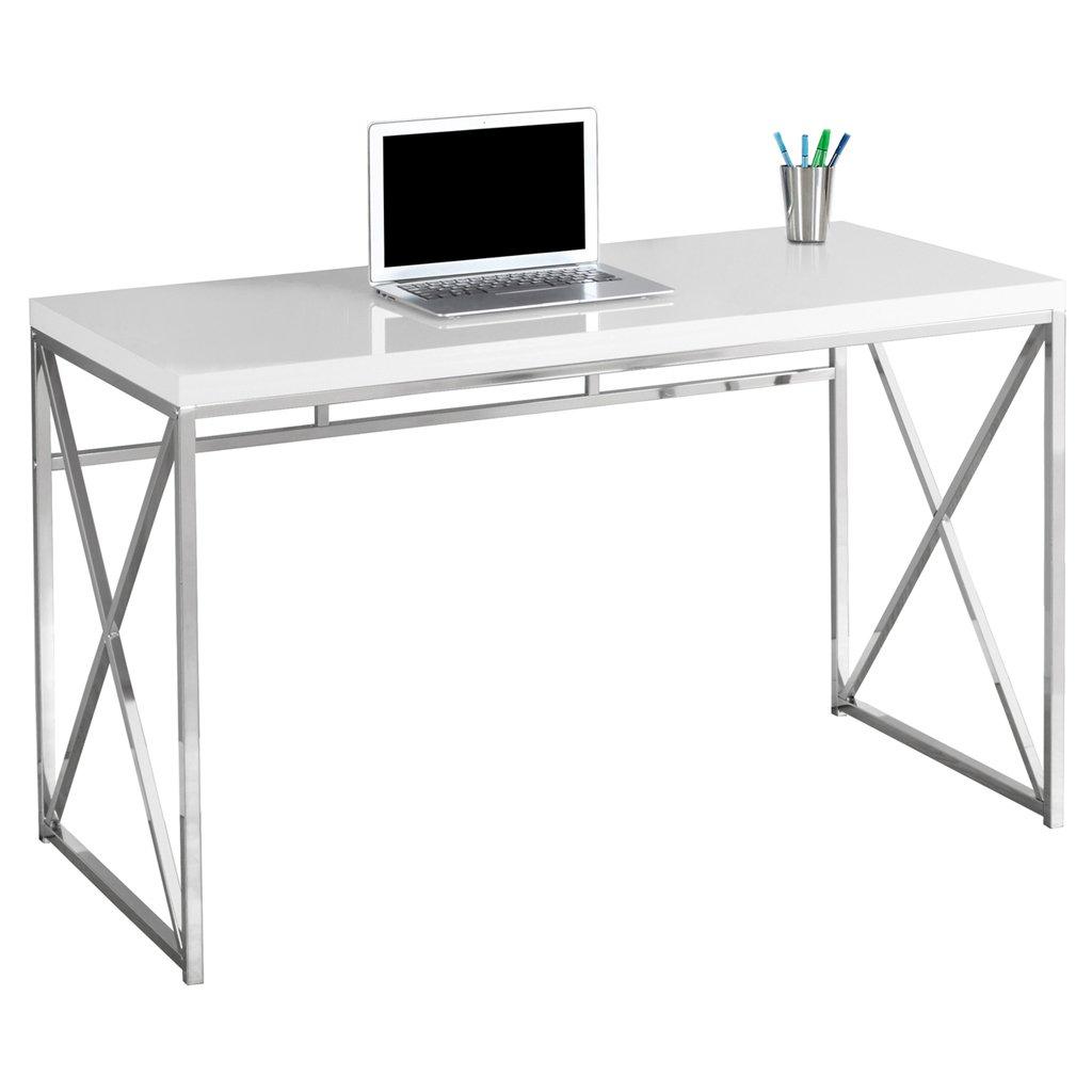 Dark Taupe Monarch Specialties I 7204 Chrome Metal Computer Desk 48
