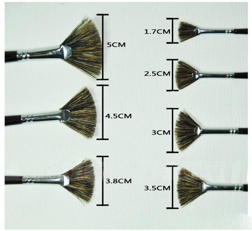 Fan-shaped Paintbrushes Handled Brush Sets, 7-Piece by PANDA SUPERSTORE (Image #1)