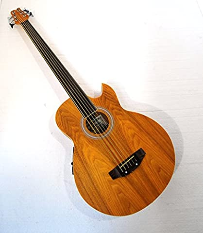 6 String Fretless Acoustic Electric Cutaway Bass w/ Gig Bag (Acoustic Basses)