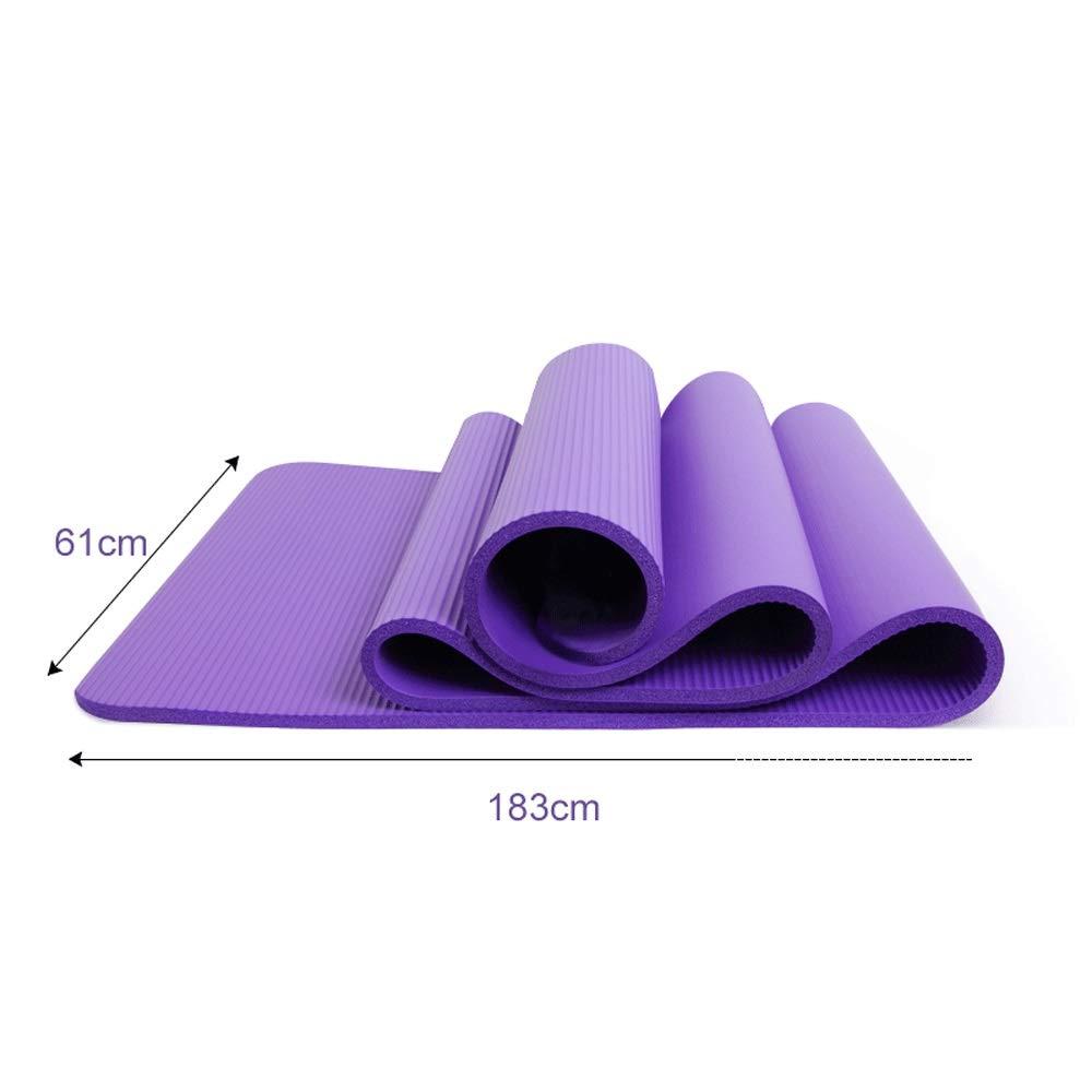XUMINGYJD Fitness Yoga Mat Beginner Female Dance Mat Sports Fitness Mat Thicken 10mm Widened Lengthened 18361cm Outdoor Equipment Pilates (Color : Purple, Size : 10mm)