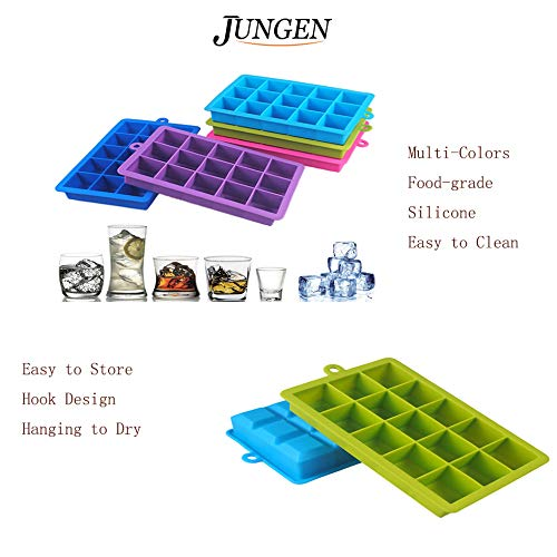 JUNGEN 15-Square Soft Silicone Ice Cube Tray,Makes Perfect Ice Cubes Keep Your Drink Cooled for Hours Blue