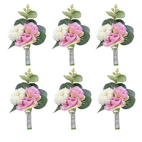 Pauwer Boutonniere Set of 6 Groom Boutonniere Flower Corsage for Men Groomsmen Wedding Prom Suit Decoration