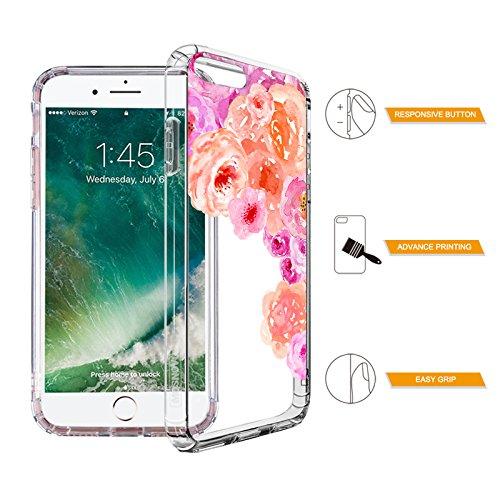 Funda iPhone 7 Plus, MOSNOVO Floral Flor Flower Transparente Cover Diseño de Plástico Impreso con TPU Bumper Protectora de Espalda Cubierta para iPhone 7 Plus (5.5) (Floral Garden) Watercolor Roses