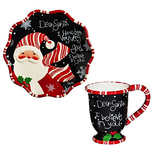 Cypress Home Dear Santa Cookies for Santa Gift Set (Personalized Cookies For Santa Plate)