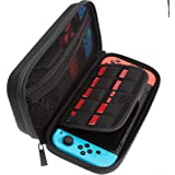 ButterFox Switch Carry Case For Nintendo Switch, Fits Wall Charger AC Adapter, 9 Game Cartridge Holders - Black