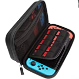 ButterFox Compact Switch Case for Nintendo Switch, Fits Slim Wall Charger AC Adapter, Large Accessories Pouch for Nintendo Switch, 9 Game and 2 Micro USB Holders - Black