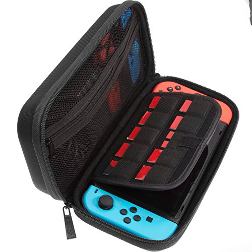 ButterFox Deluxe Nintendo Switch Travel Bag Case with room for AC Adapter and 9 Game Card Slots - Black