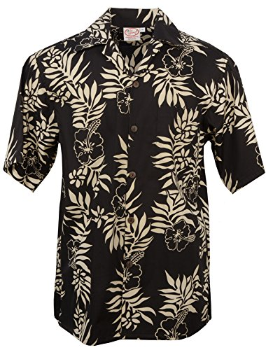 Go Barefoot Mini (Go Barefoot Mini Tahitian - Men's Hawaiian Print Aloha Shirt - in Black-Sand - X-Large)