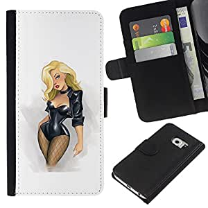 Planetar® Modelo colorido cuero carpeta tirón caso cubierta piel Holster Funda protección Samsung Galaxy S6 EDGE (NOT S6) ( Sexy Babe Blonde Stockings Fishnet Chick )