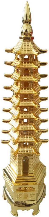 """FengShuiGe 10"""" Alloy Wenchang Tower/Nine Levels Antique Pagoda for Education and Career and Business Growth/Office Home Decoration Desk Decor and Gift Item (Golden Colour)"""