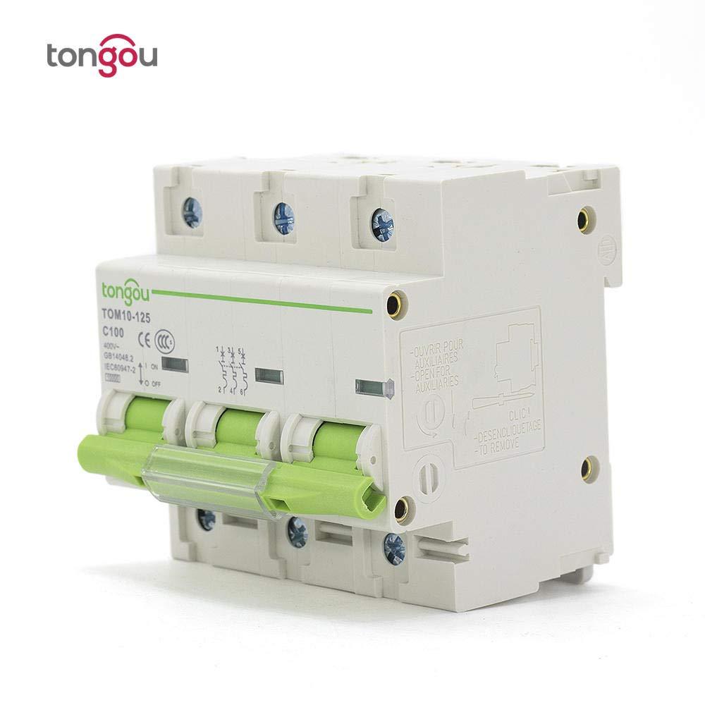 81 mm 3 p/ôles 80A 100A 125A MCB 10KA Disjoncteur miniature Courbe C /à haute capacit/é de coupure TOM10-3P/_100A