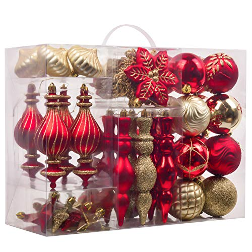 Teresas Collections 60ct Warmly Shatterproof Christmas Ball Ornaments Decoration Red Gold,2.36Inch-7.48Inch,Themed Tree Skirt(Not Included)