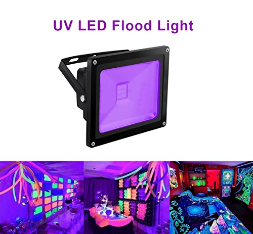 High Power Uv Led (UV Light Black Light, HouLight High Power 20W Ultra Violet UV LED Flood Light IP65-Waterproof (85V-265V AC) for Blacklight Party Supplies, Neon Glow, Glow in the Dark, Fishing, Aquarium, Curing)