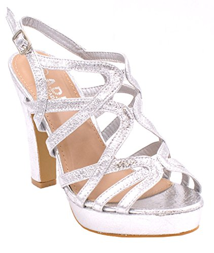 Buckle Platform Alto Sera Fashion Scarpe Womens Strap Crazy Shu Back Metallic Party D90 Argento Sling Open Tacco Ladies Toe Sandali 7p8qxXw