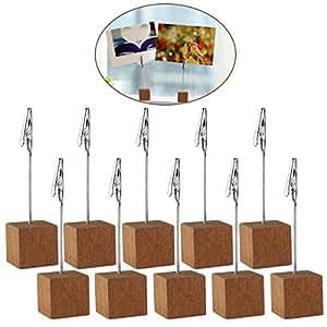 4.5 pulgadas de madera foto mesa porta cubo tarjeta Base Nota escritorio Clips Portanotas, 10pcs (precio: 7,95€)