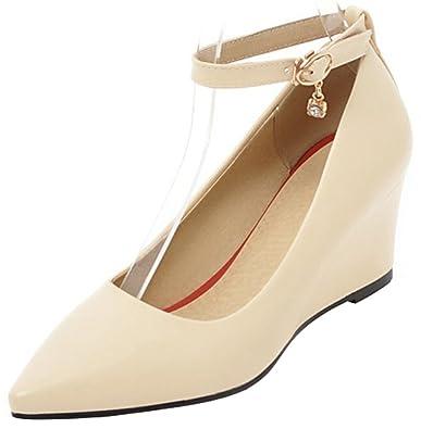 d57a126c250 Mofri Women s Pointed Toe Wedge Pump - Dressy Buckle Ankle Strap - Medium  Heel Wear to