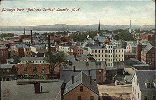 Birdseye View of Business Section Laconia, New Hampshire Original Vintage Postcard (Birdseye View Business)