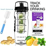 AQUATIME Time Marked Fruit Infuser Water Bottle Large 32 oz – Free Brush for Easy Clean – Convenient to Carry - Leak Proof - FDA Approval BPA free & Eco – Friendly Tritan copolyester Plastic - Black