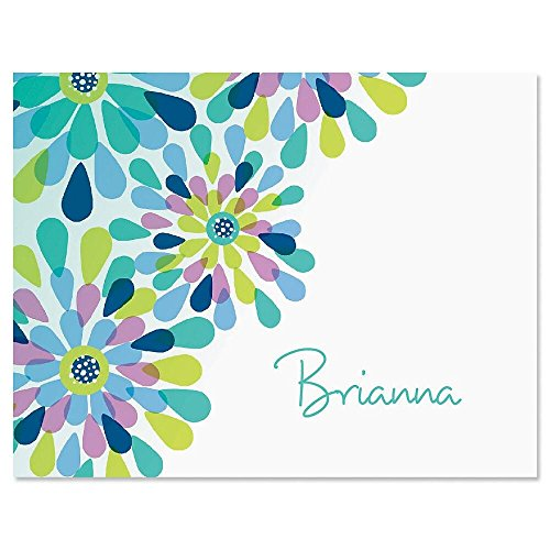Fresh Blooms Personalized Note Card Set - 24 cards & envelopes