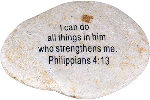 Scripture Stone (Holy Land Market Extra Large Engraved Inspirational Scripture Biblical Natural Stones Collection - Stone IV : Philippians 4:13 :