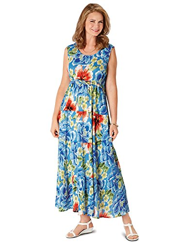 (Carol Wright Gifts Crinkle Cotton Maxi Dress, Color Blue, Size Extra Large (1X), Blue, Size Extra Large (1X))