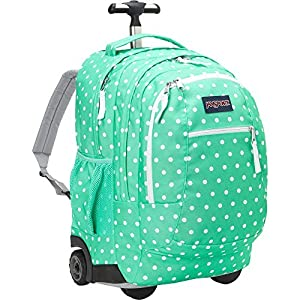 JanSport Driver 8 Rolling Backpack with Wheels (Seafoam Green/White Dots)