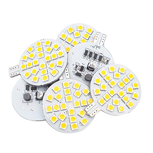 GRV T10 921 194 LED Bulb 24-5050 SMD lamp Super Bright AC 12V /DC 12V -24V For RV Boat Iandscaping Ceiling Dome Interior Lights Warm White (2nd Generation) Pack of ()