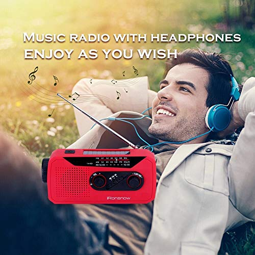 iRonsnow IS-366 Solar Emergency NOAA Weather Radio Hand Crank Windup WB/AM/FM Radios with Earphone Jack & Charge Indicator, 2000mAh Power Bank Phone Charger, Ultra Bright Flashlight for Camping (Red) by iRonsnow (Image #4)