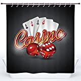 SCOCICI Polyester Shower Curtain,Poker Tournament Decorations,Vibrant Dices and Playing Card Casino Theme Luck Risky Game,Multicolor,Polyester Shower Curtains Bathroom Decor Set with Hooks