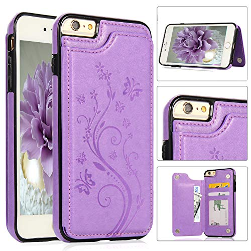 iPhone 6S Case, iPhone 6/6S Wallet Case with Card Holder, Akimoom Butterfly Embossed Double Magnetic Clasp Leather Kickstand Card Slots Protective Skin Case Cover for iPhone 6 & 6S 4.7 Inch(Purple)