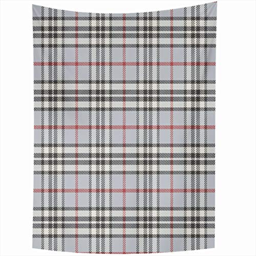 - Ahawoso Tapestry 60x90 Inch Tartan Gray Black Pattern Plaid Clan Red Check Classic Gingham Grey Wall Hanging Home Decor for Living Room Bedroom Dorm