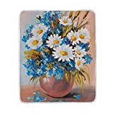 My Little Nest Warm Throw Blanket Oil Painting Flowers Bouquet Lightweight MicrofiberSoft Blanket Everyday Use for Bed Couch Sofa 50'' x 60''
