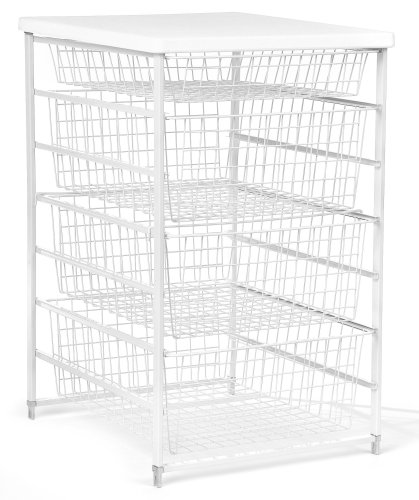 ClosetMaid 6201 4-Drawer Basket Kit, White (Kits Organizer Wire Closet)