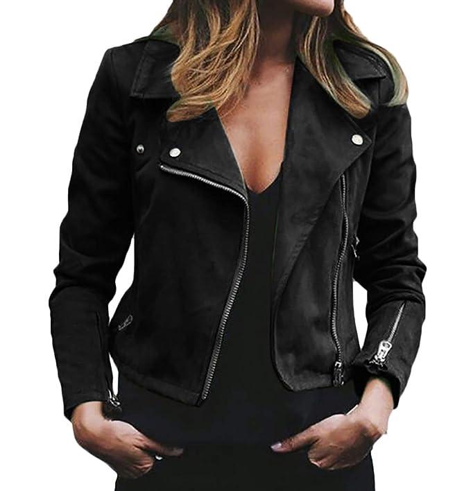 Donna Biker Jacket Primaverile Autunno Vintage Eleganti Camoscio Cappotto  Corto Manica Lunga Bavero Chic Slim Fit con Cerniera Fashion Tempo Libero  ... 9edf4621318