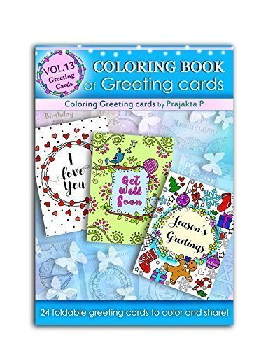 Coloring book of greeting cards: 24 handmade foldable greeting cards to color, spiral bound paperback