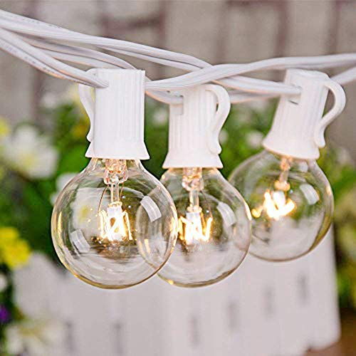 Indoor Globe - 25FT String Lights, G40 Outdoor String Lights Edison Light Bulbs Clear Globe String Lights with 27 Clear Bulbs for Indoor/Outdoor Commercial Decoration -5 Watt/120 Voltage/E12 Base -White Wire