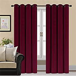 HCILY Blackout Velvet Curtains Red 96 Inch Thermal Insulated for Bedroom 2 Panels (W52'' x L96'', Burgundy)